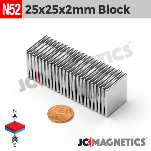 N52 25mm x 25mm x 2mm Square Block Rare Earth Neodymium Magnet