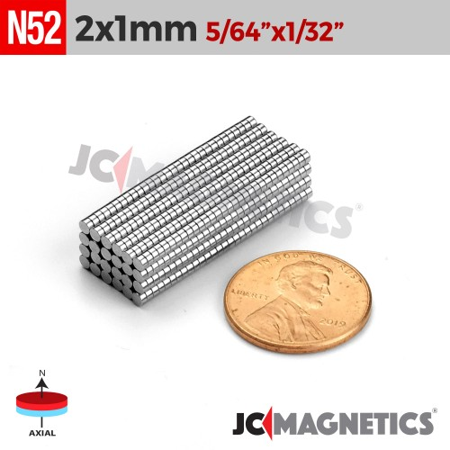 100pcs 2mm x 1mm 5/64in x 1/32in N52 Thin Discs Rare Earth Neodymium Magnets
