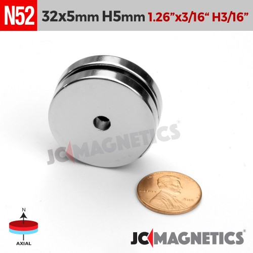 N52 32mm x 5mm x Hole 5mm Ring Rare Earth Neodymium Magnet