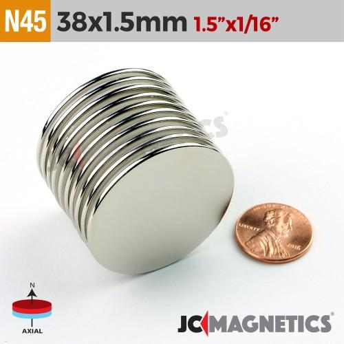 N45 38mm x 1.5mm - 1.5in x 1/16in Round Discs Rare Earth Neodymium Magnet