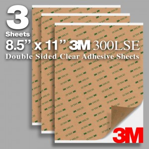 """Pack of 3 Sheets 8.5"""" x 11"""" 3M 300LSE 9495LE Double Sided Transparent Clear Adhesive"""