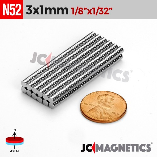 100pcs 3mm x 1mm 1/8in x 1/32in N52 Thin Discs Rare Earth Neodymium Magnets