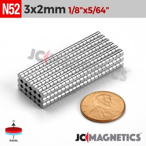 N52 3mm x 2mm 1/8in x 5/64in Cylinder Disc Rare Earth Neodymium Magnets