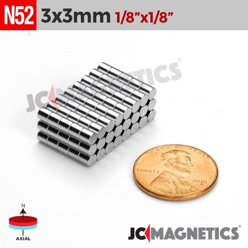 N52 3mm x 3mm 1/8in x 1/8in Cylinder Disc Rare Earth Neodymium Magnets