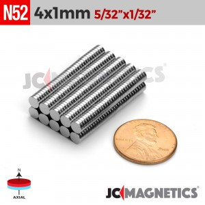 "100pcs 4mmx1mm 5/32"" x 1/32"" Rare Earth Neodymium Magnet N52 Discs"