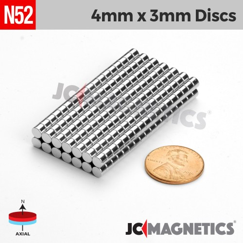 N52 4mm x 3mm 5/32in x 1/8in Discs Rare Earth Neodymium Magnet