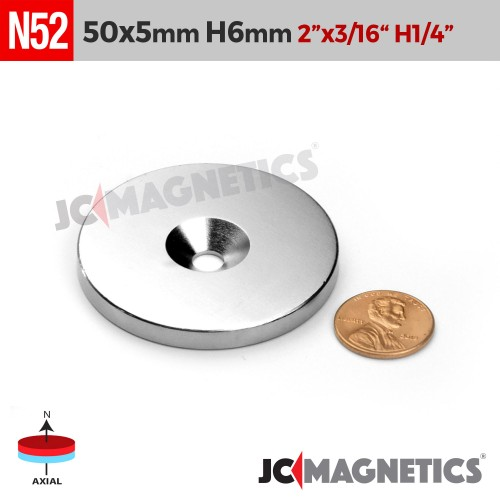 N52 50mm x 5mm x Hole 6mm Countersunk Ring Rare Earth Neodymium Magnet