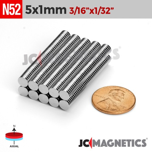 100pcs N52 5mm x 1mm 3/16in x 1/32in Discs Rare Earth Neodymium Magnet