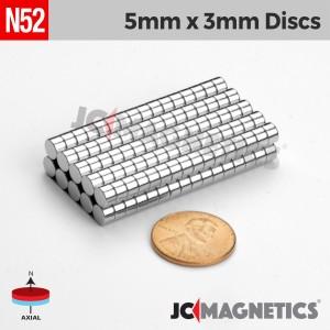 N52 5mm x 3mm 3/16in x 1/8in Discs Rare Earth Neodymium Magnet
