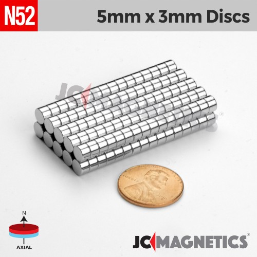 N52 5mm x 3mm 3/16in x 1/8in Discs Rare Earth Neodymium Magnet