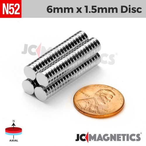 N52 6mm x 1.5mm 1/4in x 1/16in Discs Rare Earth Neodymium Magnet