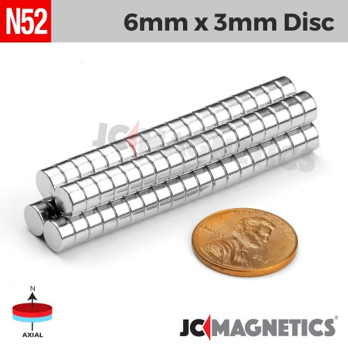N52 6mm x 3mm 1/4in x 1/8in Discs Rare Earth Neodymium Magnet