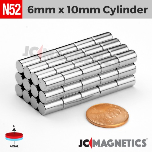 N52 6mm x 10mm 1/4in x 3/8in Cylinder Rare Earth Neodymium Magnet
