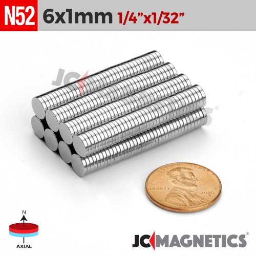 N52 6mm x 1mm 1/4in x 1/32in Thin Discs Rare Earth Neodymium Magnet