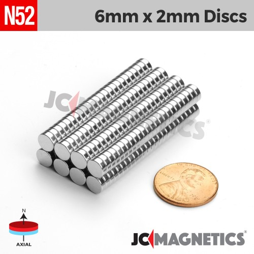 N52 6mm x 2mm 1/4in x 5/64in Discs Rare Earth Neodymium Magnet