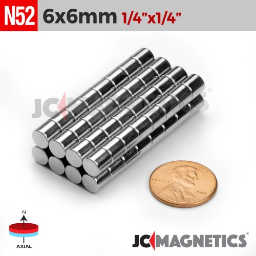 N52 6mm x 6mm 1/4in x 1/4in Discs Cylinder Rare Earth Neodymium Magnet