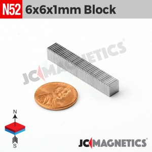N52 6mm x 6mm x 1mm Thin Square Block Rare Earth Neodymium Magnet