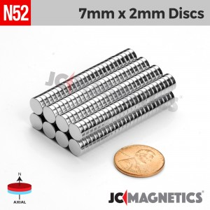 N52 7mm x 2mm 9/32in x 5/64in Discs Rare Earth Neodymium Magnet
