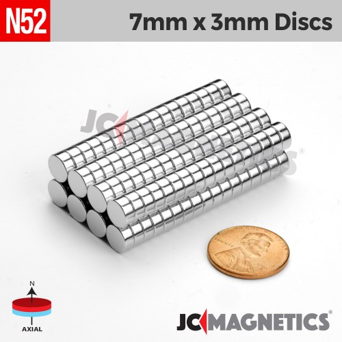 N52 7mm x 3mm 9/32in x 1/8in Discs Rare Earth Neodymium Magnet