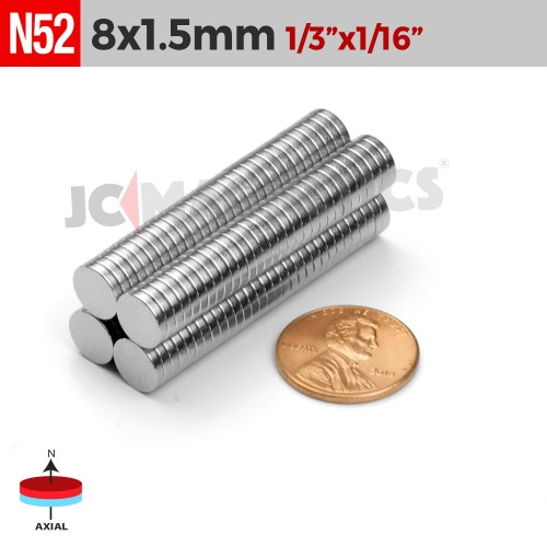 N52 8mm x 1.5mm 1/3in  x 1/16in Discs Rare Earth Neodymium Magnet