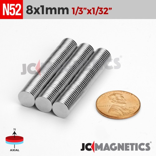 N52 8mm x 1mm 1/3in x 1/32in Thin Discs Rare Earth Neodymium Magnet