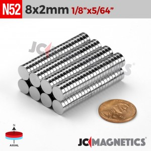 N52 8mm x 2mm 1/3in x 5/64in Discs Rare Earth Neodymium Magnet