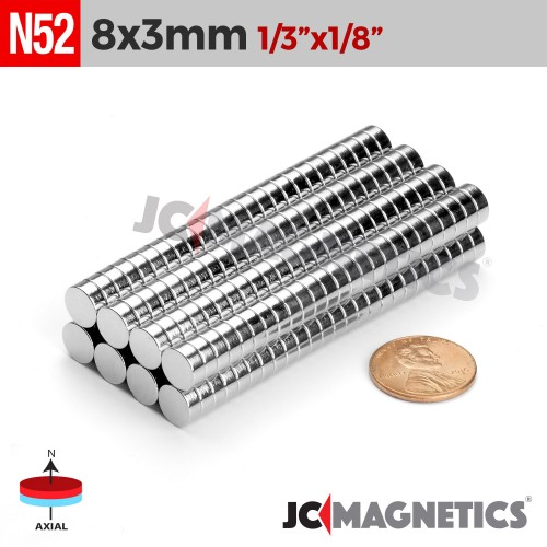 N52 8mm x 3mm 1/3in x 1/8in Discs Rare Earth Neodymium Magnet