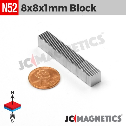 N52 8mm x 8mm x 1mm Thin Square Block Rare Earth Neodymium Magnet