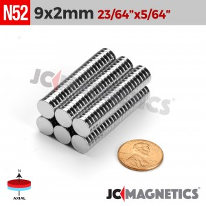 N52 9mm x 2mm 23/64in x 5/64in Discs Rare Earth Neodymium Magnet