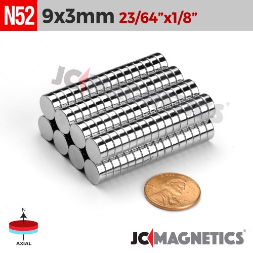 N52 9mm x 3mm 23/64in x 1/8in Discs Rare Earth Neodymium Magnet