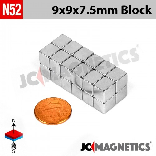 N52 9mm x 9mm x 7.5mm Block Rare Earth Neodymium Magnet