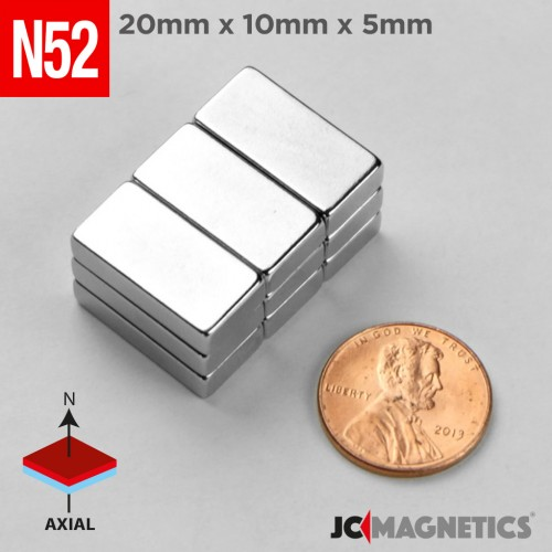 N52 20mm x 10mm x 5mm Block Rare Earth Neodymium Magnet