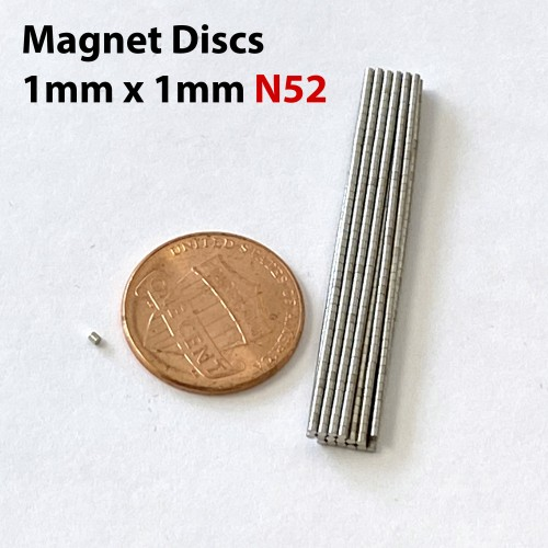 100pcs 1mm x 1mm 1/32in x 1/32in N52 Discs Rare Earth Neodymium Magnets