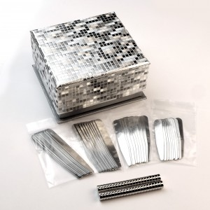 "40pcs Stainless Steel Glossy Collar Stays 2.2"" 2.5"" 2,75"" 3"" width 9mm Silver color with 40 magnets"