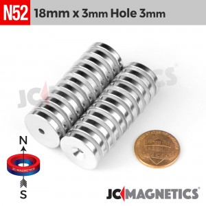 N52 18mm x 3mm x Hole 3mm Countersunk Ring Rare Earth Neodymium Magnet