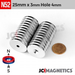 N52 25mm x 3mm x Hole 4mm Countersunk Ring Rare Earth Neodymium Magnet