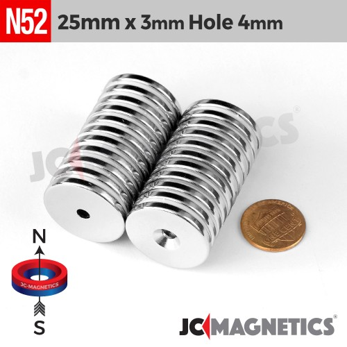 N52 25mm x 3mm x Hole 4mm Countersunk Ring Rare Earth Neodymium Magnet