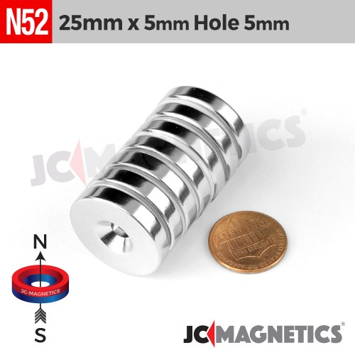 N52 25mm x 5mm x Hole 5mm Countersunk Ring Rare Earth Neodymium Magnet